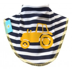 Tractor Dribble Bib :- Navy and White Stripe