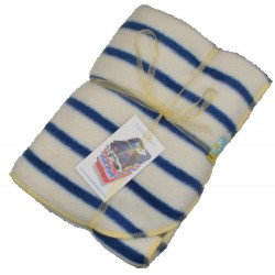 Beautiful Fleece Blanket:- Navy and Ecru Stripes