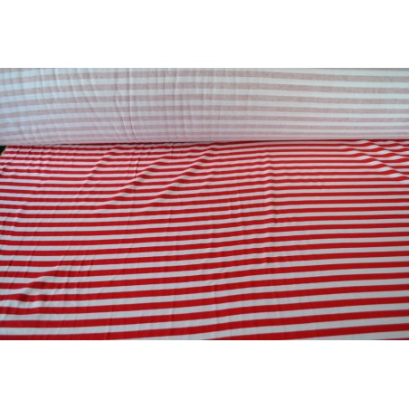 Red and White Stripe Cotton Interlock