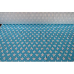 White Stars on Turquoise Cotton Interlock  / Jersey