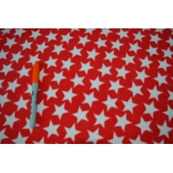 White Stars on Red Microfleece