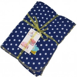 Slight second  Navy Polka Dot Micro Fleece Blanket